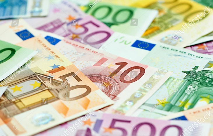 Stock Photo European Currency Money Euro Banknotes Bill Close Up 140618887